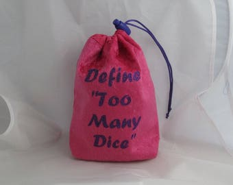 Dice Bag Pouch Velvet Dungeons and Dragons D&D RPG Role Playing Die Pink Define Too Many Dice Reversible Lined