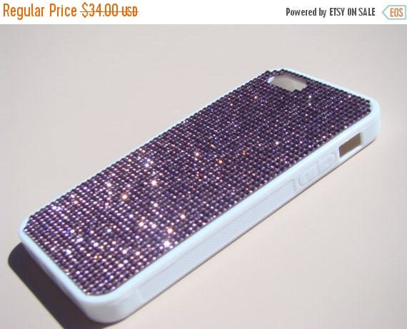 Sale iPhone SE 5/5s Purple Amethyst Crystals on White Rubber Case. Velvet/Silk Pouch Bag Included, Genuine Rangsee Crystal Cases.