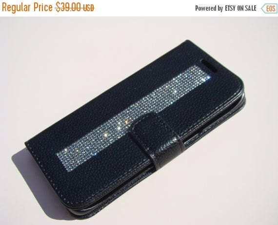 "Sale Galaxy S7  "" Edge "" Black Diamond Rhinestone Crystals on Black Wallet Case. Velvet/Silk Pouch bag Included, Genuine Rangsee Crystal Cas"
