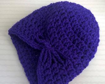 Hat bow baby girl - purple