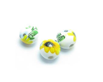 10.2 mm sunflower yellow flower porcelain BEAD