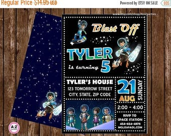 60% OFF Miles from Tomorrowland Personalized Party Invitation, 5x7, Double Sided Option, Blast Off, Out of this World, Miles, Loretta, Print
