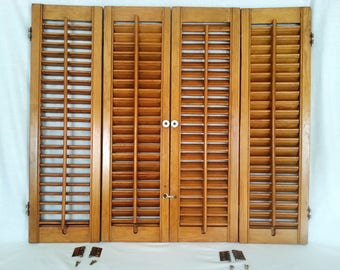 Vintage Pair Interior Wooden Shutters 2 Panels Each Connected W/Hinges Tall  Louvered Window Hardware