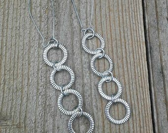 Silver Ring Earrings, Long earrings, Dangles, Customizable