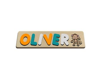 Jungle Friends Personalized Wooden Name Puzzle With A Monkey Orange Turquoise & Grey Personalized Gift for Boy 572320986