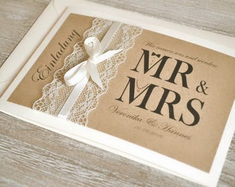 Einladung Mr. U0026 MRs.   Vintage   Zur Hochzeit
