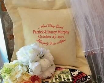 Custom Embroidered Wedding Pillow
