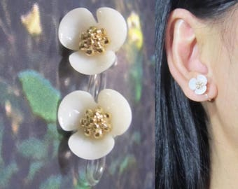 White Floral Stud Clip On Earrings |36N| 3 petal Flower Wedding Clip On Earring, Bridal Clip Earrings Non Pierced Invisible Clip-ons Earring