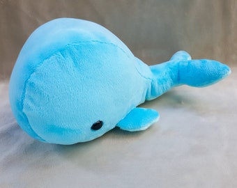 Blue Kawaii Whale Plushie // Cute Cetacean Plush // Handmade Stuffed Animal Toy // Ready to Ship