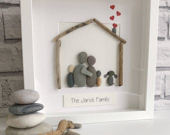 """Framed Pebble Art """"Family"""", Pebble Picture, Housewarming Gift, Family Pebble Picture, Framed Pebble Picture, Pebble Gift, personalised."""