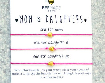 Mother and Daughter Wish Bracelets for 3 Gift Mom Gift for Mom from daughter matching bracelets birthday for Mother Daughter Gifts wish