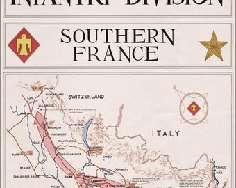 Poster, Many Sizes Available; Map Of 45Th Infantry Division S France 1945
