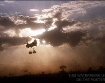 Poster, Many Sizes Available; Ch-47 Chinook Helicopter At Sunrise