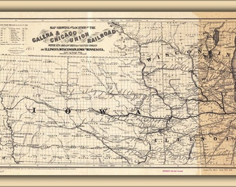 Poster, Many Sizes Available; 1862 Map Of The Galena And Chicago Union Railroad