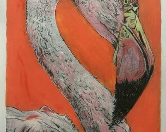 Original artwork, dry point etching and acrylic ink. Bright flamingo.