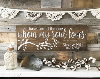 "Song of Solomon | I have found the one whom my soul loves | Wedding Sign | Wedding Decor | Wedding Gift | Anniversary Gift  (24"" x 9.25"")"