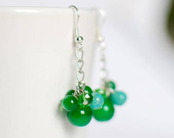 Green glass cluster - earrings