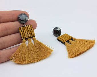 Mustard Tassel Earrings with Bead Embroidery, Vintage Table Cut Cabochons and Handmade Tassels, Handmade Jewelry by Detail London.