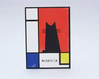 Meowdrian cat Card