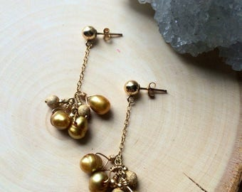 Pearl and gold stardust drop earrings