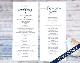 Wedding Program Templates Ceremony Template TWO Sizes Printable