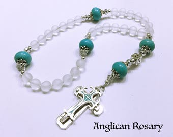 Personalized Anglican Rosary. Christian Rosary. White and Pink Rosary. Anglican Prayer Beads. Gold Rosary. Episcopal Rosary. Christian #AR14