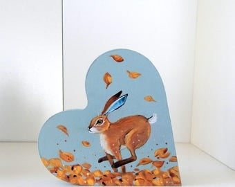 Autumn Hare - self standing chunky heart