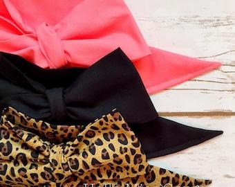 Gorgeous Wrap Trio (3 Gorgeous Wraps)- Coral, Noir & Coco Cheetah Gorgeous Wraps; headwraps; fabric head wraps; bows