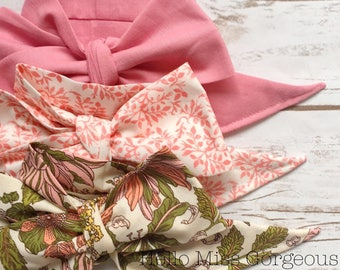 Gorgeous Wrap Trio (3 Gorgeous Wraps)- Dusty Rose, Marseille Gardens & Vintage Olive Floral Gorgeous Wraps; headwraps; fabric head wraps