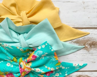 Gorgeous Wrap Trio (3 Gorgeous Wraps)-Vintage Yellow, Pistachio & Vintage Turquoise Floral Gorgeous Wraps; headwraps; fabric head wraps