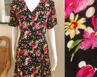 Ditzy floral and polka dot 90's flares aline tea dress size 10