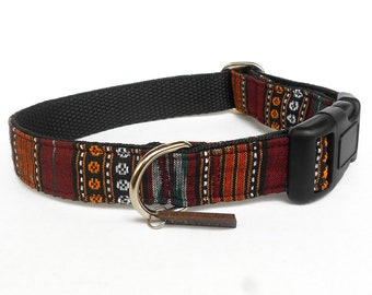 Boho tribal maroon orange dog collar/ Ikat handwoven Indian ethnic dog collar/ Indian tribal dog collar