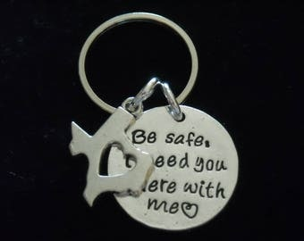 """New~Silver~ KEY RiNG  """"Be safe I need you here with me"""" and TEXAS map~ Many M0RE Options~JW.org~ Gift ~ Intro Price 14.95"""