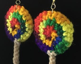 Big Lollipop Rainbow Crochet Earrings, Candy Earrings, Novelty Earrings, Crochet Earrings, Valentine's Day Gifts