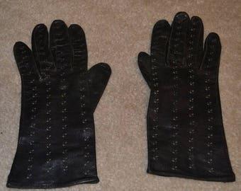 Vintage Black Leather Eyelet Driving Gloves
