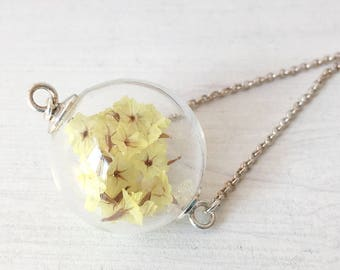 Necklace for girls with yellow flowers, long necklace