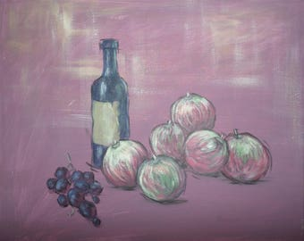 """Original Painting 40x50 cm Acrylic  on Canvas """"Wine and fruit"""""""