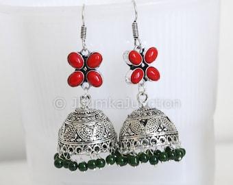 Jhumka, Hand beaded Oxidized Jhumka, silver tone bollywood earrings, big bollywood earrings, Beaded earrings