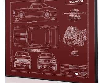 Camaro blueprint etsy chevrolet camaro ss 1st generation laser engraved wall art blueprint artwork custom malvernweather