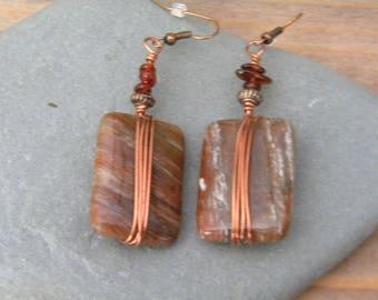 Jasper, garnet & copper wire wrapped earrings