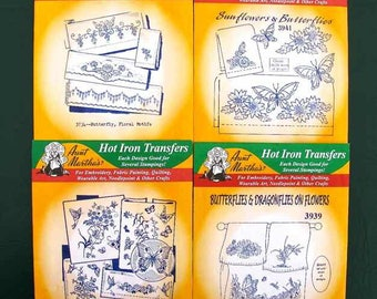 4 Aunt Martha's Hot Iron Transfers All Butterfly theme New Sealed