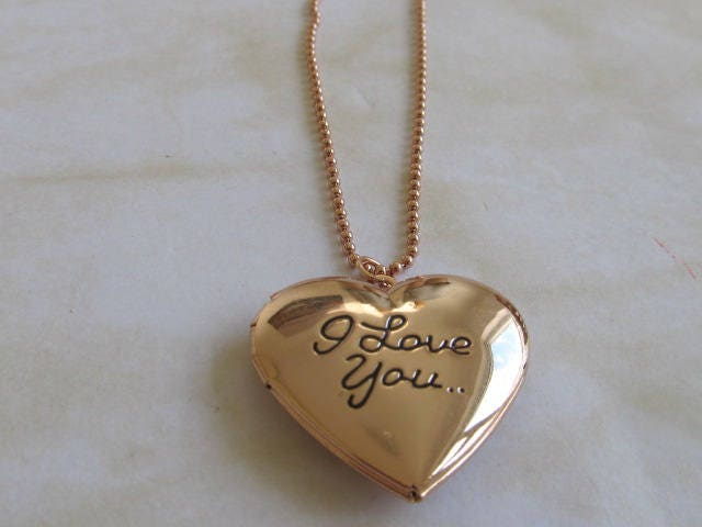 I Love You Golden Locket Gold Pendant Locket  Heart Charm Pendant  Gold  Charm Ball Necklace Jewellery VALENTINE GIFT Gift For Her