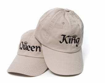 King and Queen Hats, Queen Hat, King Hat, Dad Hats, Embroidered Baseball Caps, Adjustable Strap Back Baseball Cap, Low Profile, Khaki