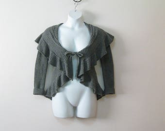 Vintage Gray Ruffled Cardigan Sweater Misses Size Small Ties in the Front SEE Details