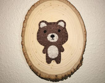 Rustic Felt Bear Plaque