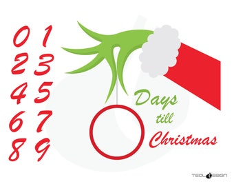 EPS SVG PNG Grinch Hand Christmas Countdown, and Studio3 Cut Files for Silhouette Cameo Portrait and Cricut Explore Craft Cutters