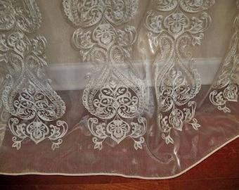 "KOPLAVITCH ORISSA Embroidered Sheer Organza Fabric 10 Yards DW 112"" ivory"