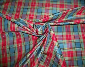 SILK LOOM CHRISTI Silk Taffeta Check Plaid Fabric 10 Yards Blue Mint Red