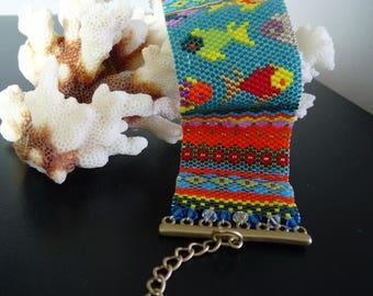 Peyote Stitch Bracelet, Seed Bead Bracelet, Beaded Bracelet,  Fish Bracelet Cuff Bracelet Sea Bracelet