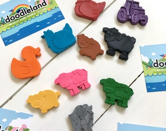 Farmyard Animal Crayons Party Favours x10 | Toddler Birthday Party | Kids Wedding Favors | Party Bag Fillers | Animal Crayons | Party ideas